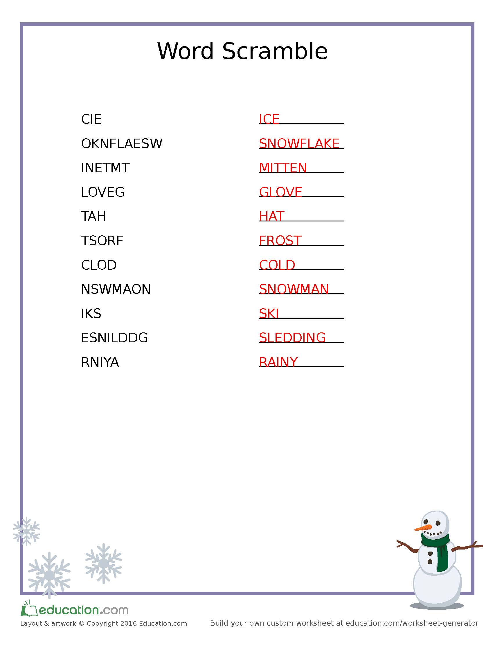 Word Scramble Snowman Answers The Dad Website